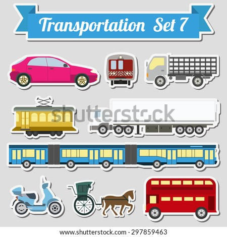 Set of all types of transport icon  for creating your own infographics or maps. Water, road, urban, air, cargo, public and ground transportation set. Vector illustration - stock vector