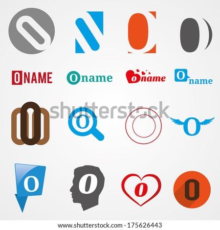 O Alphabet Logo Set of alphabet symbols of letter O, icons, vector - stock vector