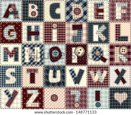 Set of alphabets letters in patchwork style. May be used as seamless background. - stock vector