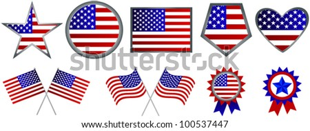 Set of American flag icons - stock vector