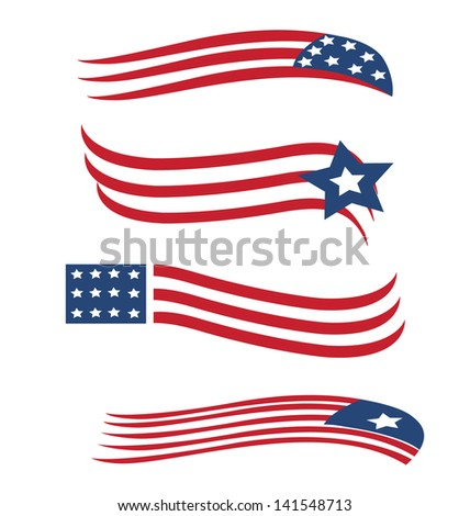 Set of American flags illustration vector - stock vector