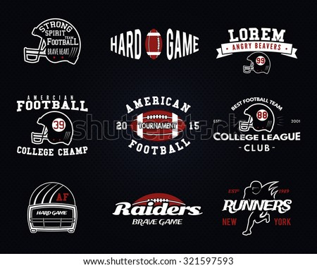Set of American football, college league labels, logos, badges, insignias, icons in vintage style. Graphic design for t-shirt, web. Color emblems isolated on a dark dotted halftone background. Vector. - stock vector