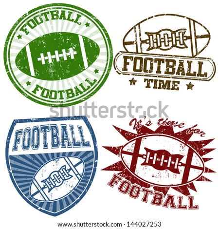 Set of american football grunge rubber stamps, vector illustration - stock vector