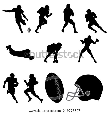 Set of American Football Players Silhouette. Vector Image - stock vector