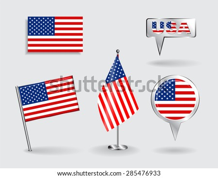 Set of American pin, icon and map pointer flags. Vector illustration. - stock vector
