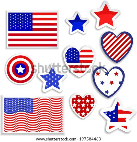 Set of american symbols for Independence day.Icons of 4th July . Vector illustration - stock vector