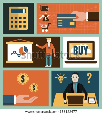 Set of analytics and online marketing symbols in flat style - vector illustration - stock vector
