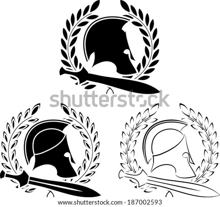 set of ancient helmets with swords and laurel wreaths. vector illustration - stock vector