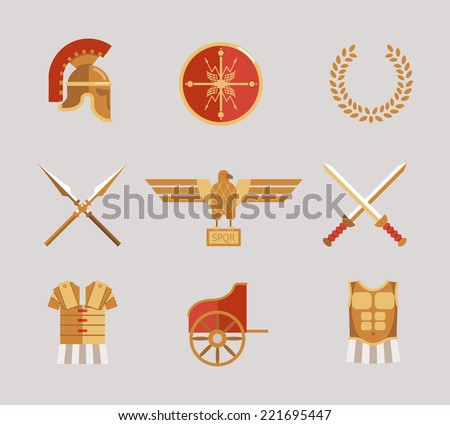 Set of ancient warrior vector accessories with a helmet  spears  swords  wreath  tunic  breastplate  shield and eagle in red and gold - stock vector