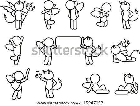 set of angels and devils - stock vector