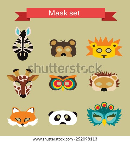 set of animal masks for costume Party  - stock vector