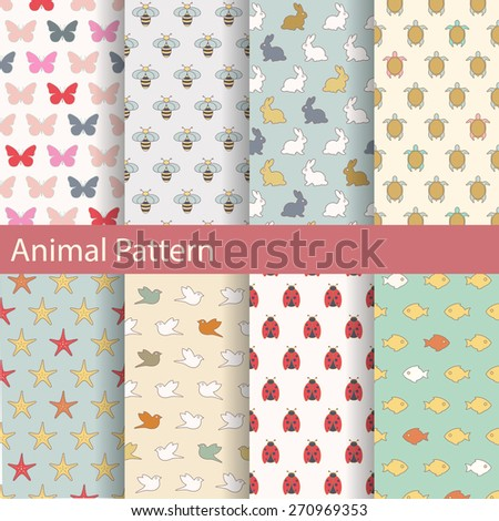 Set of animal seamless patterns. Ideal for baby design. - stock vector