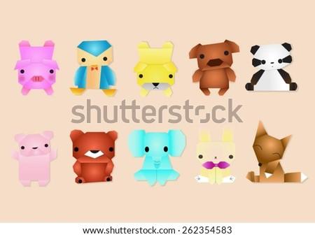 Set of animals. Cartoon and vector - stock vector