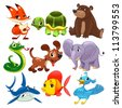 Set of animals. Cartoon and vector isolated characters. - stock vector