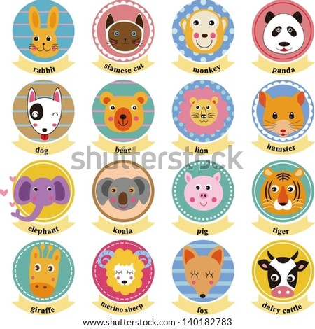 set of animals heads - stock vector