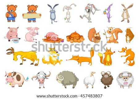 Set of animals illustrations. Collection of forest and domestic animals. Set of comic bears, rabbits, squirrels, pigs, sheeps, foxes, cows, deer. Vector illustration isolated on white background. - stock vector