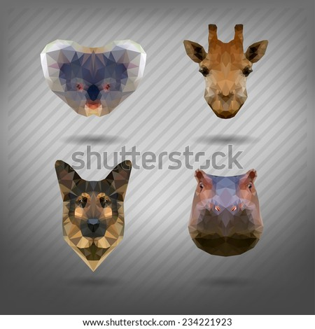set of animals in the style of origami  - stock vector
