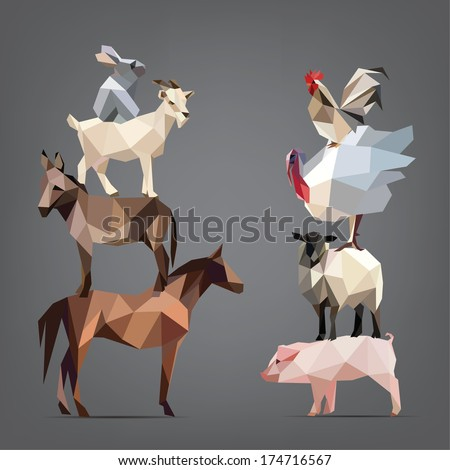 Set of animals living on the farm. vector illustration - stock vector
