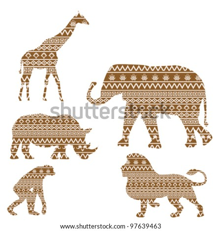 Set of animals with african textures - stock vector