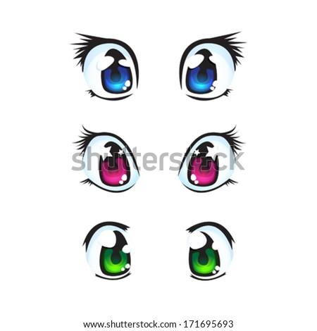 Set of anime Eyes  - stock vector