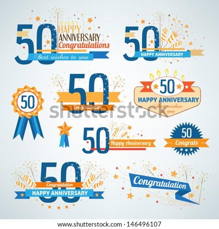 Set of anniversary design elements - stock vector