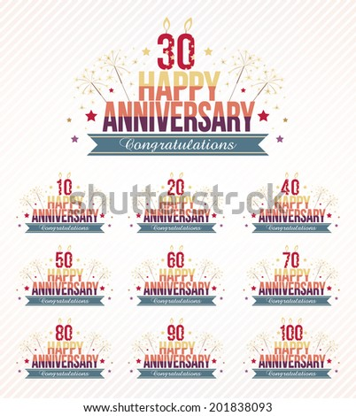 Set of anniversary design emblems in retro style. - stock vector