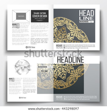 Set of annual report business templates for brochure, magazine, flyer or booklet. Golden microchip pattern, dark background, mandala template with connecting dots and lines. Digital scientific vector - stock vector