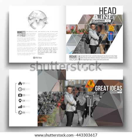 Set of annual report business templates for brochure, magazine, flyer or booklet. Polygonal background, blurred image, urban landscape, cityscape, modern triangular texture. - stock vector