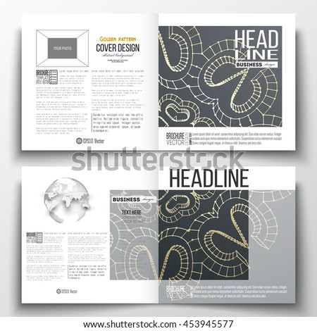 Set of annual report business templates for brochure, magazine, flyer or booklet. Polygonal backdrop with golden connecting dots and lines, connection structure. Digital scientific background. - stock vector