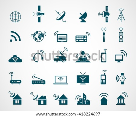 Set of antenna and wireless technology icons. Connection, communication, satellite internet. Vector illustration - stock vector