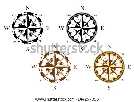 Set of antique compasses set for design isolated on white background or idea of logo. Jpeg version also available in gallery - stock vector