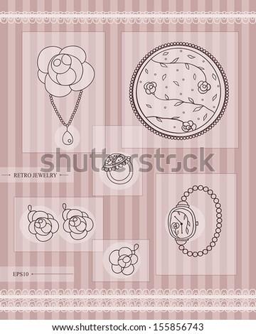 set of antique  jewelry. retro style. vector eps10 - stock vector