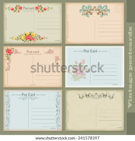 Set of antique postcards. Six reverse side vintage designs. - stock vector