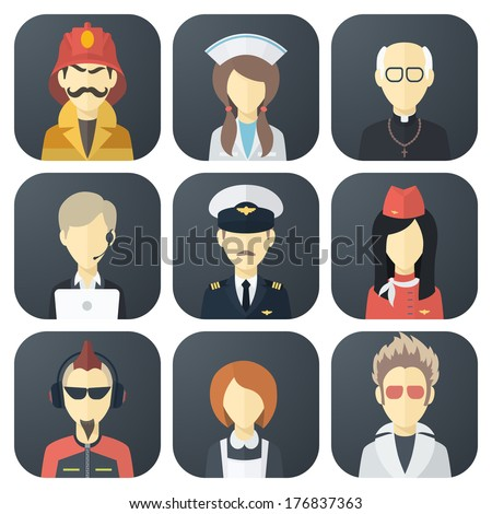 Set of App Flat Icons with Man of Different Professions - stock vector