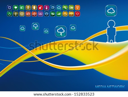 set of app icons with wave background - stock vector