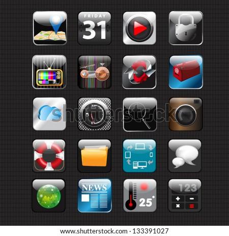 set of app vector icons vector design. - stock vector