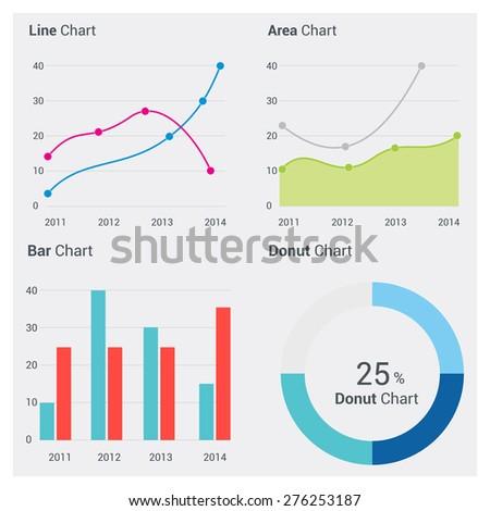 Set of Application Progress graph chart - stock vector