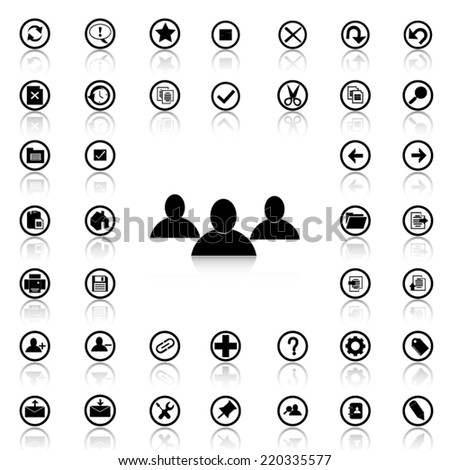 Set of Application toolbar black icons and silhouettes - stock vector