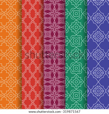 Set of Arabic geometric seamless patterns. Ethnic modern backgrounds in Islamic style. - stock vector