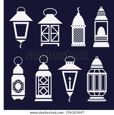 set of arabic Ramadan lanterns. vector icons - stock vector