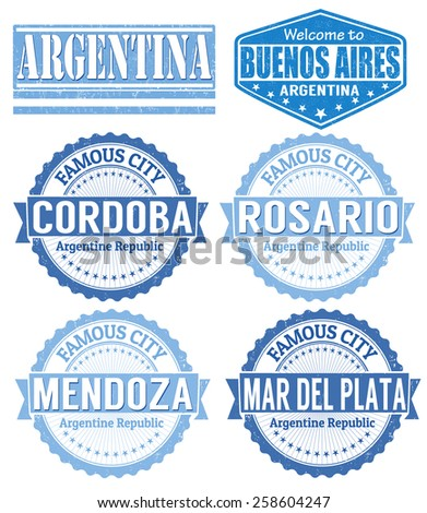 Set of Argentina cities stamps on white background, vector illustration - stock vector