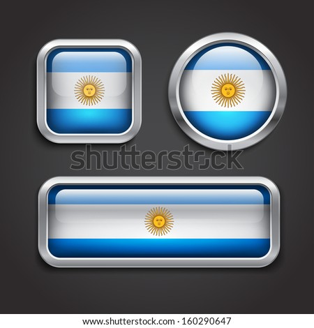 Set of Argentina flag glass buttons, vector illustration - stock vector