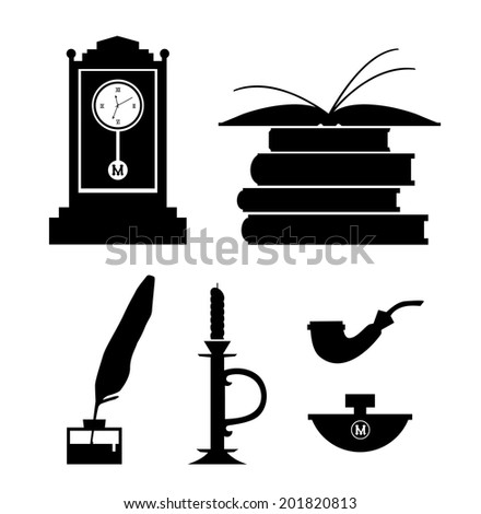 Set of aristocratic symbols. Icon collection of black contour silhouettes - stock vector