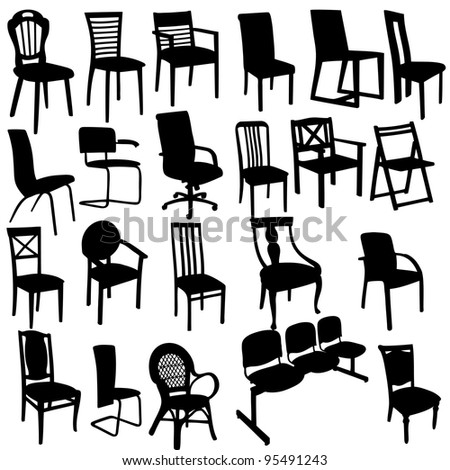 Set of Armchairs Silhouettes - stock vector
