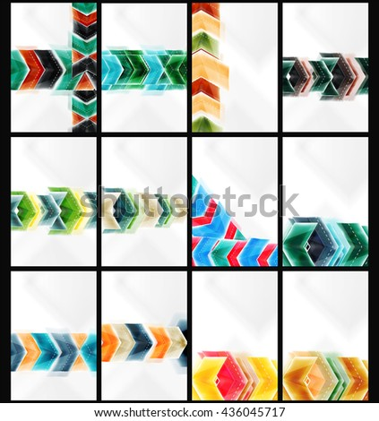 Set of arrow background - vector web brochures, internet flyers, wallpaper or cover poster designs. Geometric style, colorful realistic glossy arrow shapes, blank templates with copyspace. Directional - stock vector