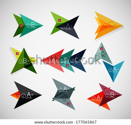 Set of arrow infographic templates for business background | numbered banners | business lines | graphic website - stock vector
