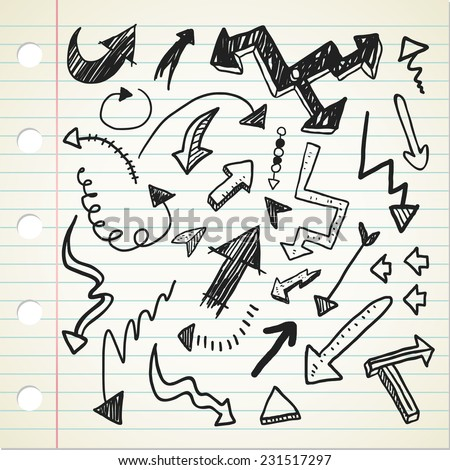 set of arrow sign in doodle style - stock vector