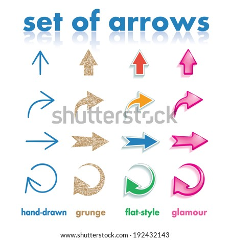 Set of arrows in four different styles - stock vector