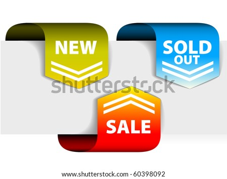 Set of arrows pointing at the new, sold out and discount item - stock vector