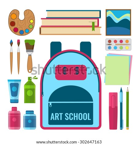 Set of art and craft tools and art education objects. Art school concept vector illustration in flat style design.  - stock vector